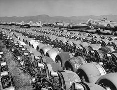 Engines are removed from mothballed B-17 bombers at Kingman Army Airfield, by Peter Stackpole for LIFE Magazine (1947)