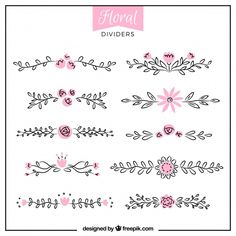 Floral divider collection Free Vector - New Sites Bullet Journal School, Bullet Journal Dividers, Bullet Journal Headers, Bullet Journal Banner, Bullet Journal Notebook, Bullet Journal Ideas Pages, Bullet Journal Inspiration, Doodle Borders, Motifs Perler