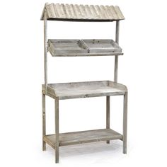 Wooden Produce Stand with Roof. I think I could build something like this.