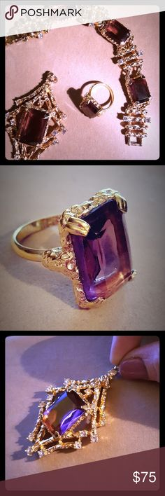 "❣️Vintage 3 piece matching set ❣️Sarah Coventry Extraordinary matching jewelry set from Sarah Coventry's ""Twilight"" collection. Made in the 1970s, set includes a bracelet, ring and pendant. Bracelet contains 3 emerald cut purple stones with rhinestone accents. Solitaire ring features emerald cut purple stone in prong setting, adjustable band which fits between a 5 and an 8 (currently a size 8). Solitaire stone measure 3/4"" x 1/2"". Final piece is stunning pendant with with rhinestones and…"