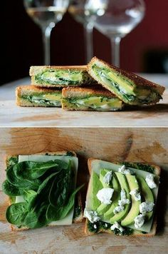 Toast with mozarella, spinach, advocado, pesto and goat cheese. must be good!