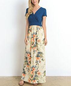 $29.99 Teal Floral Surplice Maxi Dress #zulilyfinds