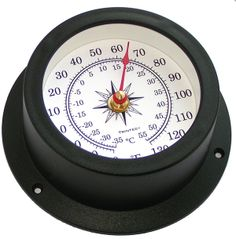"""Vector Thermometer   Features:  Corrosion-resistant ABS housing  Scratch-resistant acrylic lens  Dial diameter: 3.75""""  Mounting hardware included  Weight: 6 oz. One year manufacturer's warranty  $50.00"""