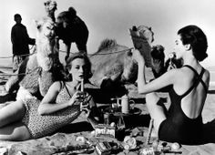 William Klein Tatiana and Marie-Rose, camels, picnic Morocco, 1958