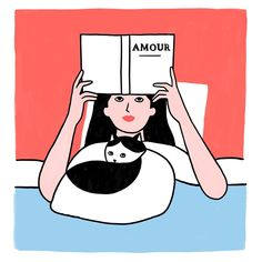 Book and cat time - #illustration #cat #book #amour #reading #lorrainesorlet #insta #love #willbarnet #inspiration