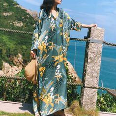Leaf Printed Folk Style Casual Loose Maxi Dress For Women Folk Fashion, Fashion Prints, Bohemia Dress, Travel Dress, Holiday Dresses, Leaf Prints, Silk Dress, Types Of Sleeves, Kimono Top