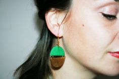 Round dangle earrings Statement earrings by OurPrettyUniverse