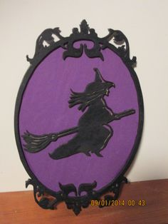 Flying Witch Wall Hanging Halloween Decoration Ornament Fretwork by PXWoodNJoys on Etsy