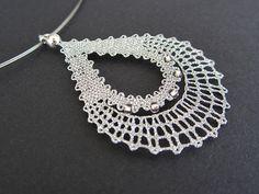 Drop || Silver Drop Lace Pendant | Drop Raindrop Teardrop Rain Silver Spring | Handmade Bobbin Lace Jewelry