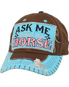 71dafa929721d Blazin Roxx Women s Ask Me About My Horse Cap Cowgirl Hats