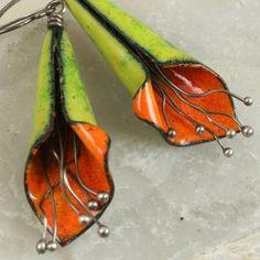 Copper Enamel Flower Earrings Biter Green and Orange Boho Natural Earthy Modern Autumn via Etsy