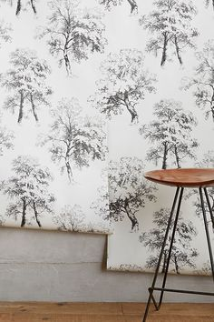 Deciduous Forest Wallpaper by Anthropologie in Black, Wall Decor - Modern Unique Wallpaper, Print Wallpaper, Wallpaper Designs, Modern Farmhouse, Farmhouse Style, Modern Country, Farmhouse Wallpaper, Forest Wallpaper, Paintings