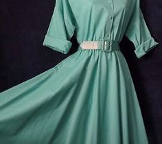 NOS 80's Vintage 50's Retro The American Shirt Dress Rockabilly Belted Swing 12