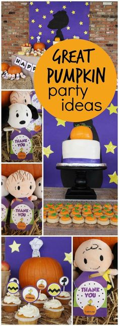 "a modern, girly twist to the classic ""It's a Great Pumpkin, Charlie Brown""! See more party ideas at ! Charlie Brown Halloween, Great Pumpkin Charlie Brown, Peanuts Halloween, Charlie Brown Christmas, Pumpkin 1st Birthdays, Pumpkin Birthday Parties, Halloween Birthday, Halloween Fun, Preschool Halloween"