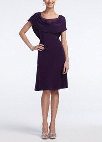 Modest affair or don't know what to wear? You'll look stunning at any event in this gorgeous dress!  Short sleeve bodice features a drape neck with a dazzling beaded inset for an intricate focal point.  Dress hits just below the knee.  Pair with earrings and a sparkling shoe to complete your look.  Imported polyester/spandex blend. Hand wash cold. Available in Plus sizes as Style T1311517L1.