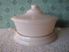 Vintage Fire King Ivory Casserole Lid Hot Plate by LucyBettyNJune, $45.00