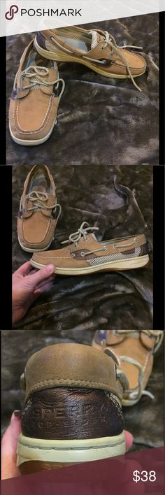 Sperry Top Sider Boat Shoes 🛥🛥🛥! Size 7 1/2 ⚓️ Wear Everywhere! Leather tan and bronze Sperry Top Sider Boat Shoes! ⚓️⚓️⚓️ Size 7 1/2! 🛥🛥🛥 very small spot on tops where the laces lay, otherwise EUC! 😀 Sperry Top-Sider Shoes Flats & Loafers