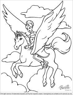 Barbie Pegasus coloring page