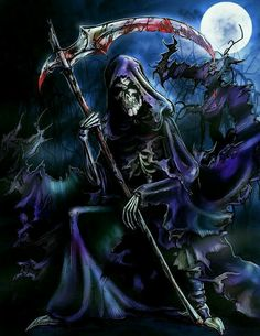 Art (c) HalloweenBloodyQueen The Grim Reaper Dark Reaper, Grim Reaper Art, Grim Reaper Tattoo, Don't Fear The Reaper, Dark Fantasy Art, Dark Art, Reaper Drawing, Black Mage, Gothic Angel