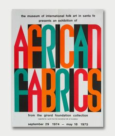 Alexander Girard, Poster for the Exhibition of African Fabrics 1974,