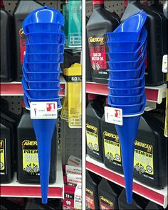 This is amazingly creative point-of-purchase fixturing for funnels. Positioned directly with automobile oil, an oft forgotten or overlooked aspect of… Retail Fixtures, Point Of Purchase, Home Appliances, Display, Design Shop, Oil, Store, Ideas, Products