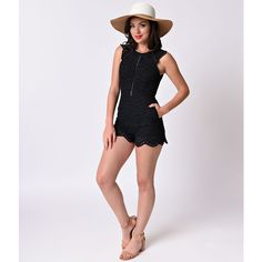 Retro 1970s Style Black Eyelet Lace Scalloped Cutout Romper (€53) ❤ liked on Polyvore featuring jumpsuits, rompers, black, cutout romper, long-sleeve rompers, playsuit romper, cut out romper and retro rompers