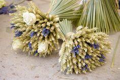 Cream Rose and Lavender Wheat Sheaf