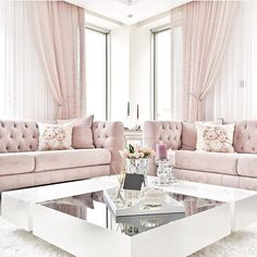 As an interior designer, you can discover modern luxury living room design ideas combining luxurious materials with a light gold Romantic Living Room, Elegant Living Room, Home Living Room, Apartment Living, Living Room Designs, Living Room Ideas Pink And Grey, Blush Pink Living Room, Barn Living, London Apartment