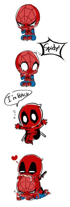 Spiderman and Deadpool Marvel Comics, Memes Marvel, Marvel Funny, Marvel Art, Funny Comics, Marvel Avengers, Spideypool, Superfamily, Deadpool Y Spiderman