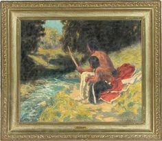 """Eanger Irving Couse oil painting on canvas titled, """"The River Bank,"""" Sold for $95,000.00"""