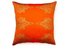 Pasha Khari 20x20 Pillow, Rust Orange on OneKingsLane.com   Embellished with a gorgeous gold khari motif, this rust-orange accent pillow has timeless, Eastern-inspired style. The feather-and-down fill ensures long-lasting loftiness. The feather-and-down fill ensures long-lasting loftiness.