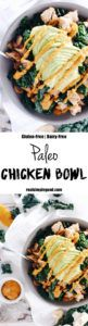 This paleo chicken bowl has the most delicious roasted pepper sauce. There are only eight ingredients, and you can prepare it in less than 30 minutes. Paleo, Gluten-Free + Dairy-Free. | realsimplegood.com
