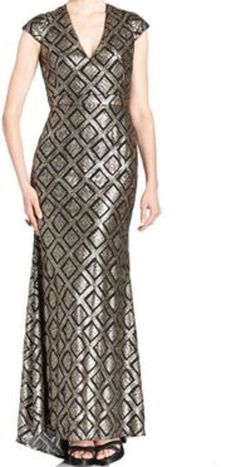 Betsy & Adam Dress Sz 8 Black Bronze Sequined Cap Sleeve Full Length Formal Gown #BetsyAdam #Gown #Formal
