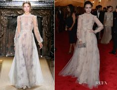 Lily Collins In Valentino at the 2012 Met Gala. Her gown is reminiscent of clothing from the Romantic Period. The high neckline, long sleeves and abundance of lace were common for day wear of that time. It also reminds me a little of the empire period (though obviously with a different waistline). But the white, floor length, frilly and flowing dresses were very common in the Empire Period, along with that sleeve (although the historical ones had more volume at the shoulder). 1/28 Addy Forte