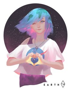 , Fahmi Fauzi << this is one of the cutest and purest depictions of Earth-Chan I have ever seen Pretty Art, Cute Art, Manga Art, Anime Art, Anime Lindo, Image Manga, Anime Version, Anime Kunst, Anime Style