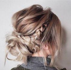 Incredible messy updo hairstyles,crown braid hairstyle to try ,boho hairstyle,easy hairstyle Updos For Medium Length Hair, Mid Length Hair, Medium Hair Styles, Short Hair Styles, Hair Medium, Braided Hairstyles For Wedding, Fancy Hairstyles, Braid Hairstyles, Hairstyle Ideas
