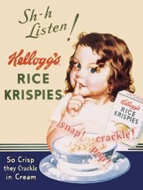 Kellogg's Rice Krispies Tin Sign I loved listening to my Rice Krispies as a child. I thought they were magic