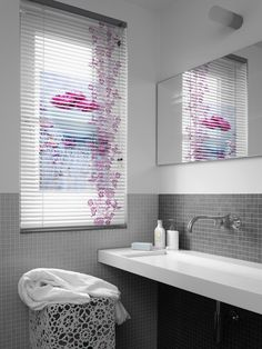 Binnenzonwering met print. Westland-Luxaflex. Aluminium Blind with print