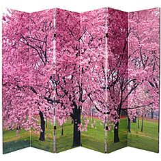 Canvas 6-foot Double-sided Cherry Blossoms Room Divider (China) | Overstock.com Shopping - Great Deals on ORIENTAL FURNITURE Decorative Screens
