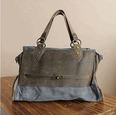 canvas bag/Unisex/leather leisure bag/Washed canvas bag/big tote   elvishcitybag - Bags & Purses on ArtFire
