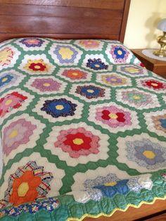 Vintage Grandmother's Flower Garden Quilt 1940's by AStringorTwo, $148.00