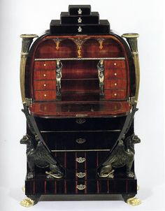 Secretary Desk - 1810-1812, Vienna, Austria. Various woods, carved, gilded, and painted, with gilt-bronze mounts; interior copper, brass, and maple marquetry.