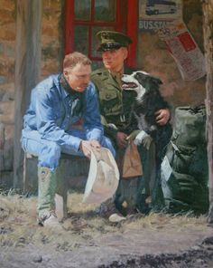 When Freedom Isnt Free Art Prints by Bruce Greene Artist - A soldier sits in full uniform next to his Dad and his best friend the dog. He's heading off to war and thi Duck Art, Free Art Prints, Cow Art, Painting & Drawing, Freedom, Art Gallery, Fine Art, Canvas, Drawings
