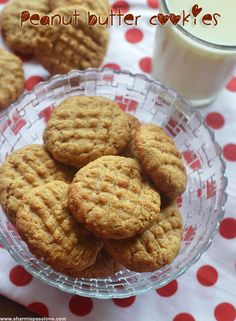 Peanut Butter Cookies Recipe1 c. tub butter 1 c. sugar 1 c. brown sugar, firmly packed 5 tbsp. skim milk 1 tsp. vanilla 1 c. peanut butter 2 c. flour 2 tsp. baking soda Thoroughly cream butter, sugars, milk and vanilla. Stir in peanut butter and add dry ingredients. Drop from a teaspoon onto an ungreased cookie sheet. Press down with a fork. Bake at 350 degrees for 15 minutes. Peanut Butter Cookie Recipe, Cookie Recipes, No Egg Desserts, Cream Butter, 350 Degrees, Homemade Cookies, Potlucks, No Bake Cake, Chocolate Chip Cookies
