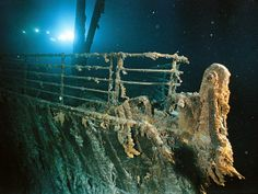 """Love Titanic """"Rusticles"""" coat the railing of the R.M.S. Titanic. Still taken from our National Geographic DVD of the week, Titanic Collection."""