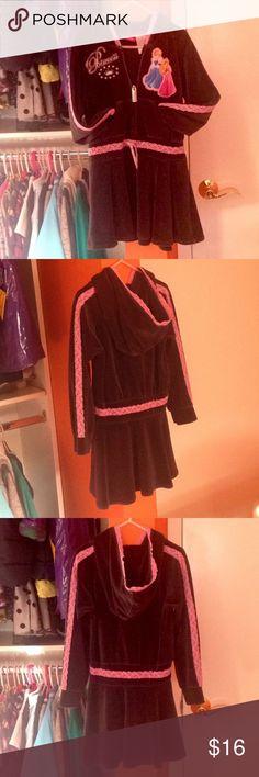 DISNEY Blk Pink Lace Zip-Up Hooded Dress EUC 6x DISNEY Blk Pink Lace Trim Zip-Up Hooded Dress EUC 6x Disney Dresses Casual