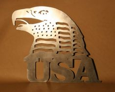 USA Eagle and Flag USA Plasma Cut Metal Wall Art Hanging Home Decor America