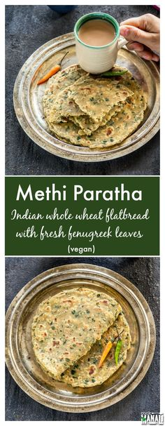 Indian flatbread with fenugreek leaves. Healthy & vegan these methi parathas are best enjoyed with a side of chai! Find the recipe on www.cookwithmanali.com