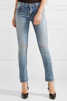 Saint Laurent - Distressed Mid-rise Skinny Jeans - Mid denim