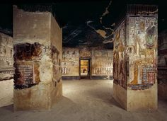 Osiris Pillars Wearing a multicolored atef crown the god...